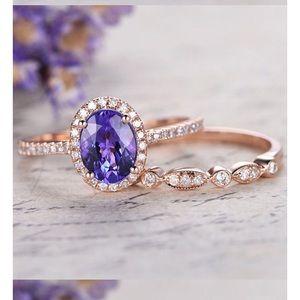 Purple Tanzanite RingSet 18k Rose Gold Over Silver